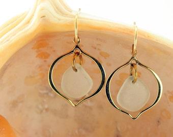 Gold Plated Teardrop Earrings with Light Sea Foam Genuine Sea Glass