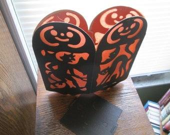 Vintage Halloween Lantern,Vintage orange black decorations,Scary Black Cat Devil Owl Witch 1940s Halloween Decor,USA Ephemera