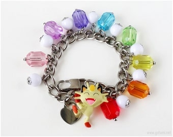 Meowth Pokemon Bracelet, Rainbow Bracelet, Stainless Steel Chain Bracelet, Gamer Girl, Pokemon Jewelry, Gamer Gifts, Kawaii