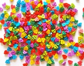 100 pcs Tiny love heart button 5 mm mix rainbow color