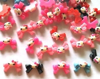 30 pcs Cute Tiny Cat Ribbon Cabochon Flatback Decoration Size 10 X 19 mm