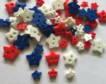 100 pcs Mix size star buttons Mix white, blue, red colors