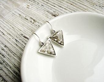 Small Silver Arrow Earrings, Triangle Earrings, Small Dangles, Geometric Earrings, Minimalist Jewelry, Silver Earrings
