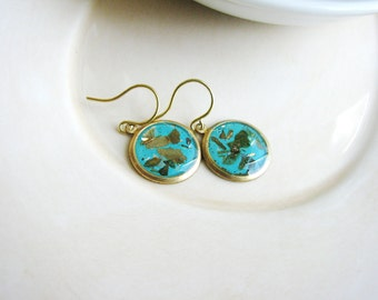 Green Blue Earrings, Mica Earrings, Faux Stone, Glitter Earrings, Minimalist Boho Jewelry, Resin Jewelry