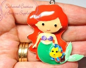 "2"" Ariel With Flounder Inspired Charm, Little Mermaid Inspired, Chunky Pendant, Keychain, Bookmark, Zipper Pull, Chunky Jewelry"