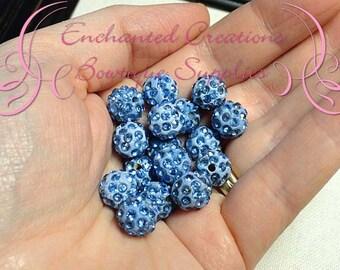 10mm Light Blue Pave Rhinestone Beads, Clay Beads Qty 10