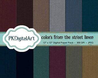Street linen digital scrapbook paper; linen backgrounds and textures in rich shades