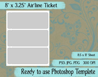 """Airline Ticket, Card - Digital Layered Collage Sheet Template:  8"""" x 3.25"""""""