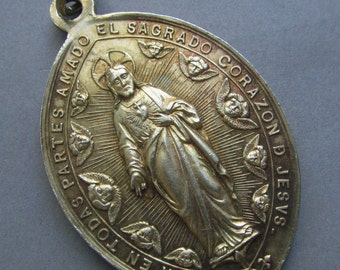 Angels In Adoration Antique Silver Vermeil Spanish Religious Medal Sacred Heart Of Jesus Pendant  SS265
