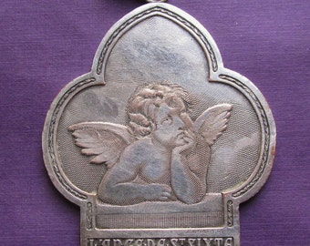 Antique Religious Medal French Angel Of Saint Sixte By Raphael Signed B. Wicker   SS