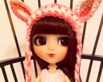 Kawaii Crochet Bunny Girl Hat for Pullip Dolls