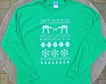 Star Wars Christmas Print / Ugly Xmas Sweater Tee / Ugly Christmas Shirt / Geek Nerd Gift / Long Sleeve Unisex T-Shirt in Green