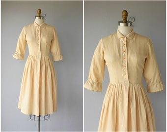 Vintage 1950s Dress | Vintage 50s Dress | 1950s Striped Mustard Dress | 50s Day Dress | 1950s Shirtwaist Dress