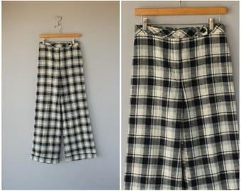 Wide Leg Wool Trousers | 1970s Wool Pants | 70s Pants | Plaid Wool Pants | High Waisted Pants | High Rise Trousers