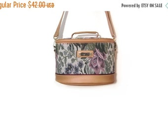 BTS SALE Vintage 90s Floral Tapestry and Tan Faux Leather Weekender Traveling Case Carry On Bag