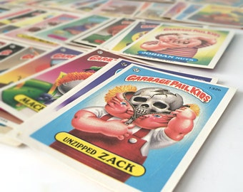 Garbage Pail Kids Cards, Kids Stickers, 1980s Cabbage Patch Spoof, 1986 GPK, Joke Gift, Christmas Gift for Men, Stocking Stuffer, Set of 30
