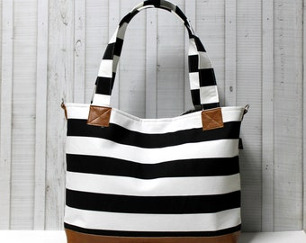 Black and White Stripes with Vegan Leather - Tote Bag /  Diaper Bag /  Medium / Large Bag