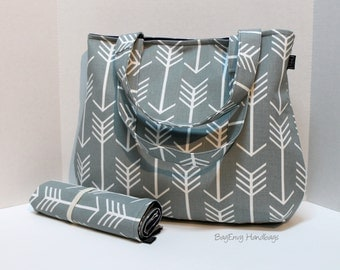 READY TO SHIP - Grey Arrows -  Laguna Diaper Bag Set