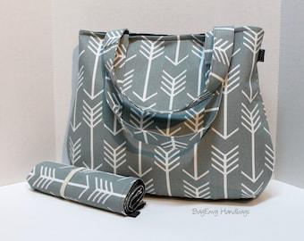 READY TO SHIP - Grey Arrows -  Laguna Diaper Bag Set