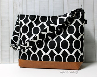 Black Sydney Circles with Vegan Leather - Messenger Tote Bag /  Diaper Bag - Medium / Large Bag  SALE