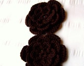 Crochet motif flower 3 inch brown 05 color merino wool set of 2 flowers