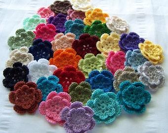Crochet flowers 36 assorted colors 1.5 inch flower motif