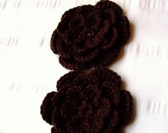 Crochet motif flower 3 inch brown 05 color merino wool set of 2 flowers