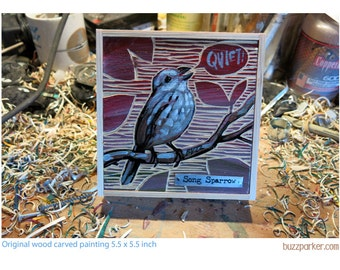 Song Sparrow, Original Carved Wood Painting -Backyard Birds- by Buzz Parker