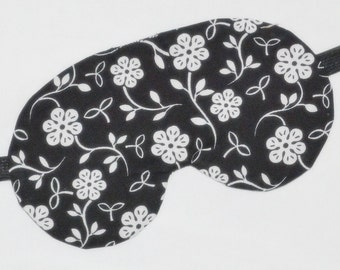 Black & White FLOATING FLOWERS Five layer LUXURY Cotton Sleep Eye Mask