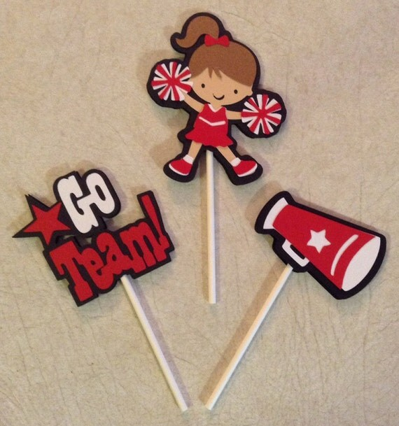 Cheerleading cupcake toppers birthday decorations party for Cheerleading decorations
