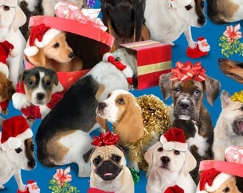 SALE - Doggie Christmas Fabric - Holiday Friends Blue - Dog Fabric - Elizabeth Studios - 100% Cotton - By the Yard