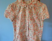 RESERVED for Carole--- Vintage CACHAREL Mini Floral Print Collared Blouse / Size Small