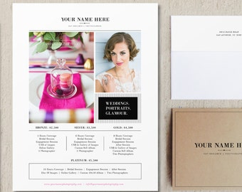 Wedding Photography Pricing Template - Price List Templates - Pricing Guide Flyer Designs - Photographer Branding