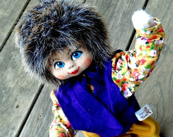 Original Nanka Vintage Cloth and Wire Stockinette Poseable Collectible Doll with Stand