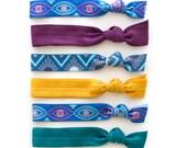 The Eye Hair Tie Package - 6 Elastic Geometric Evil Eye - Art Deco Jewel Tone - Hair Ties that Double as Bracelets by Mane Message on Etsy