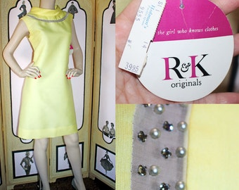 Vintage 60's Dress in Yellow. Jackie O Style with Rhinestones and Pearls. Deadstock with Tags. Medium.