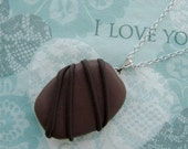 Dark Chocolate Fondant Pendant - Fat Free Plain Chocolate Necklace - Fake Faux Food Jewelry - Sterling Silver Chain - Choose Chain Length