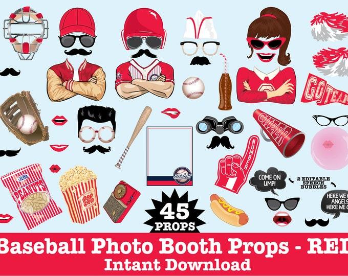 Baseball Photo Booth Props, Retro Baseball Party, Baseball Birthday, Sports Party,  -  Instant Download PDF - 45 DIY Printable Props