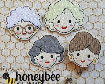 Golden Girls themed MAGNET or BADGE REEL Grandma women face set keychain key fob snap tab. diaper bag, purse. amazing bridesmaid gifts!
