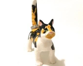 Calico Cat Ring Holder, Hand-Built Calico Cat Sculpture
