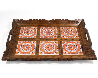 Vintage Hand Carved Wooden Tile Serving Tray - Mexican Pottery