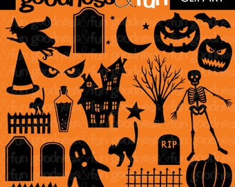 Buy 2, Get 1 FREE - Halloween Silhouettes Clipart - Digital Halloween Clipart - Instant Download