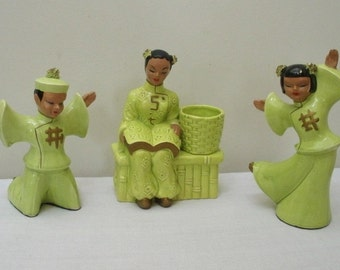 Vintage Kreiss Set of 3 Asian Dancing Figures & Planter