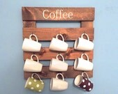 Coffee mug holder, rustic mug rack, coffee cup display, reclaimed wood, kitchen storage, kitchen decor, coffee wall decor, wooden rack