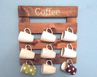 Coffee mug holder, rustic mug rack, coffee cup display, rustic kitchen, reclaimed wood, kitchen storage, kitchen decor,  wooden rack