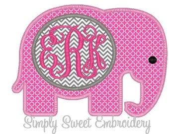 Elephant Monogram Machine Embroidery Applique Design