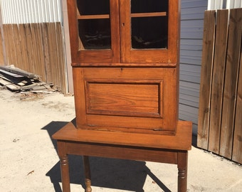 Antique Plantation Desk key cabinet top wavy glass 39w30w20d13d30h79h Shipping is NOT FREE!