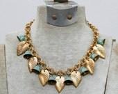 1930s art deco brass leaves dangle necklace / 30s vintage leaf and bells charm necklace