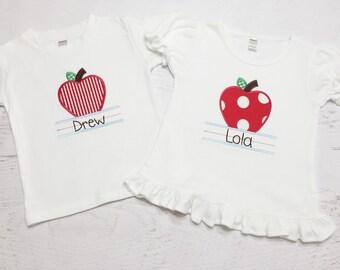 Back to School Shirt - Apple Applique Shirt - Kindergarten - Preschool - Applique Shirt - Personalized