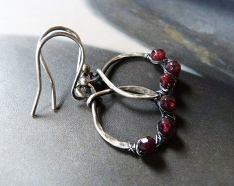 Rustic garnet silver earrings, wire wrapped earrings, casual earrings, handmade jewelry, Valentines day gift, affordable gift, gift under 40